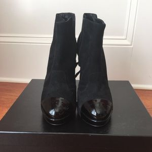 Chanel black suede&patent leather ankle bootie NIB